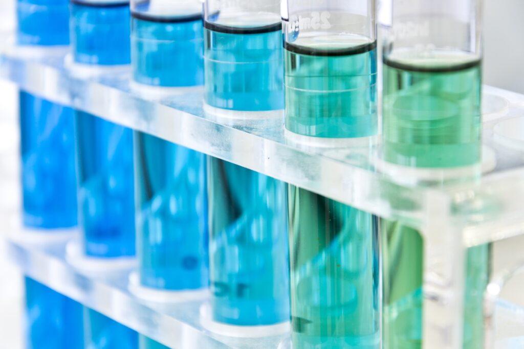 pH vials, blue, green